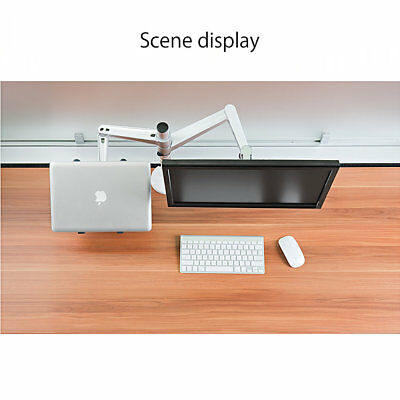 Combination Desk Holder Bracket Stand Mount Dual Arm for Laptop Monitors IC