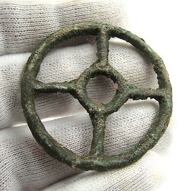 Authentic Ancient Celtic Bronze Sun Pendant Amulet - Wearable - G665