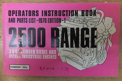 ford 2500 engine instructions & parts list book 3 & 4 cylinder perol & diesel