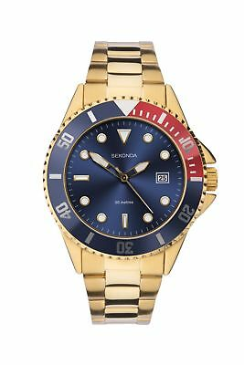 Sekonda Mens Blue Dial Gold Bracelet Sports Watch 1625 RRP £79.99