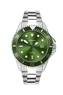Sekonda Mens Green Dial Bracelet Sports Watch 1622 RRP £59.99