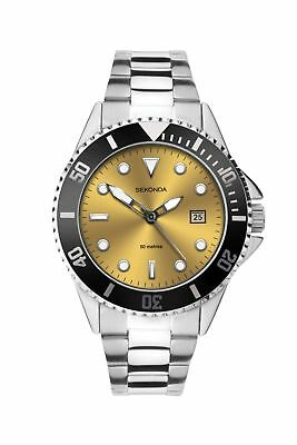 Sekonda Mens Yellow Dial Bracelet Sports Watch 1620 RRP £59.99