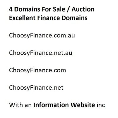 ChoosyFinance.com.au and Matching Domains and Website Inc Brilliant Name Choice