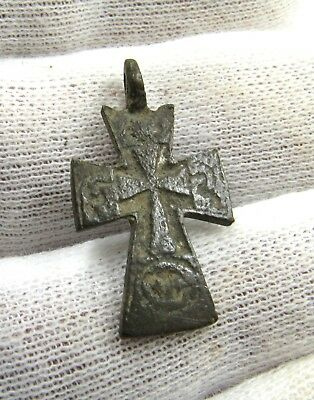 Authentic Late Medieval Bronze Cross Pendant - Wearable - G671