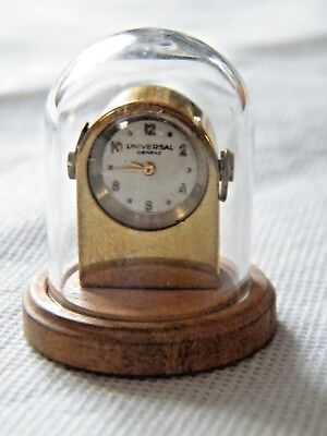 Miniature Antique Brass Vintage Working Swiss Clock Doll House? Under Glass Dome