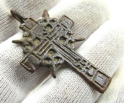 Authentic Post Medieval Bronze Radiate Cross Pendant  - G675