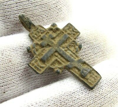 Authentic Post Medieval Bronze Radiate Cross Pendant  - G676