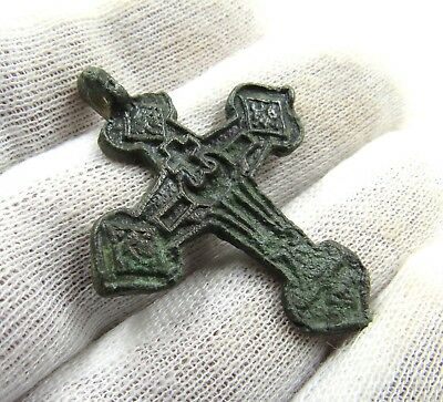 Authentic Medieval Crusaders Era Bronze Cross Pendant - G677