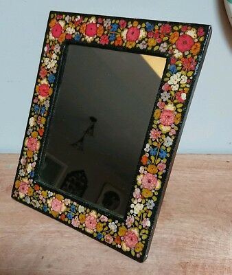 Small Antique Vintage Old Wooden Mirror Decorative black floral vanity original