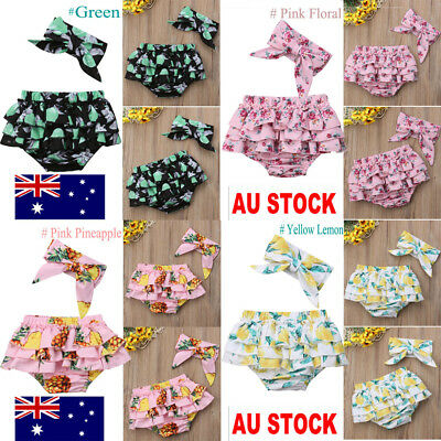 AU Newborn Infant Baby Girls Floral Short Briefs Headband Outfit Clothes Set