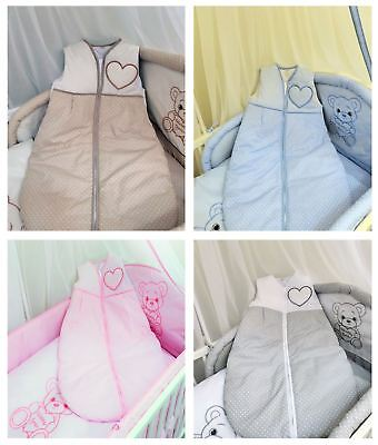 Baby Sleeping Bag 6-18 Months Sleeveless Embroidered Travel Zip Bag - Hearts