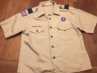 Boy Scout Mens M Shirt Sleeve Uniform F305 Tan