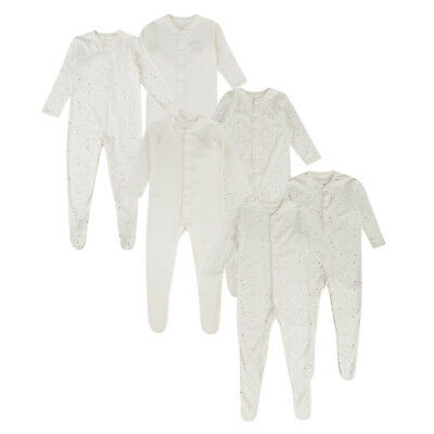 BABY BOYS GIRLS 3 PACK SLEEPSUITS EX UK STORE 100% COTTON BABYGROWS 0-24m NEW
