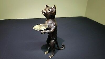 Antique Vintage Folk Art Cast Iron Brass Primitive Standing Cat Ring Holder