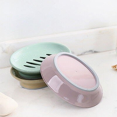 Oval Soap Dish Drain Hole Holder Case Container Storage With Cover LH