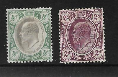 TRANSVAAL KING EDWARD VII ½d BLACK BLUISH GREEN 2d PURPLE SG 244 275 REF 120