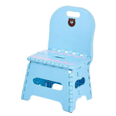 Kids Plastic Foldable Chair Step Stool with Backrest in School~Blue_S