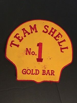 """Vintage Lrge SHELL OIL Creast Patch TEAM SHELL NO. 1 Gold Bar 10"""" Badge"""