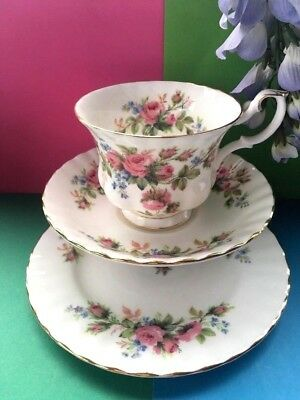 "Vintage Royal Albert Bone China ""Moss Rose"" Tea Set Trio -Teacup,Saucer & Plate"