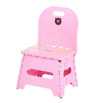 Kids Plastic Foldable Chair Step Stool with Backrest in School~Pink_S