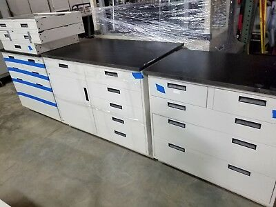 Lot of 13 feet Lab Crafters Base Cabinet Casework Stainless Steel Drawers