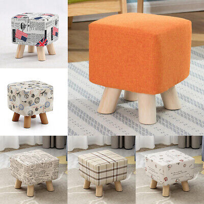 Square Stool Footstool Cover, Ottoman Slipcover, Cotton Linen