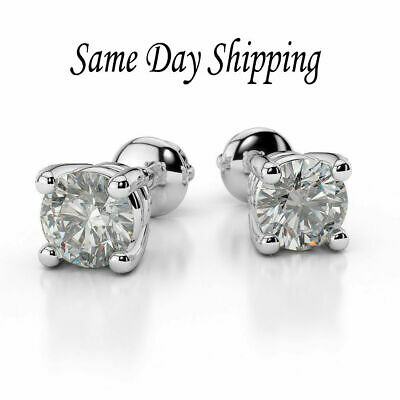 1.00 Carat Round Brilliant Cut Diamond Stud Earrings Sterling Silver -Screw Back