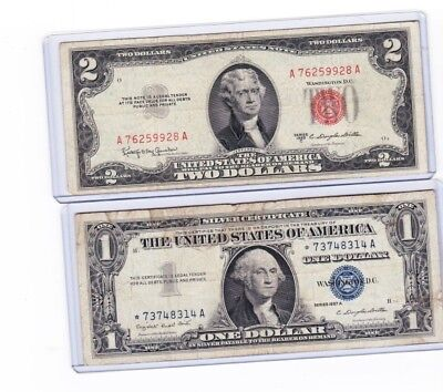 1953C $2 Red Seal & 1957A $1 Silver Certificate STAR * Note Lot of 2 in holders
