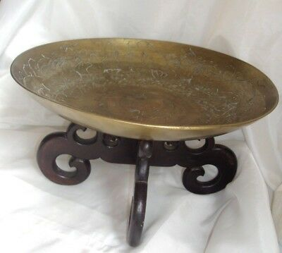 """Antique Heavy Brass 12"""" Chinese Bowl W/wooden Pedestal Etched Double Dragons"""