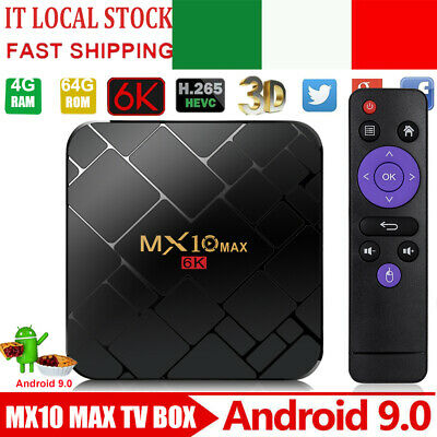 MX10MAX 4+64G Android 9.0 OS TV BOX Quad Core USB3.0 4K 3D HDR10+ Media Streamer