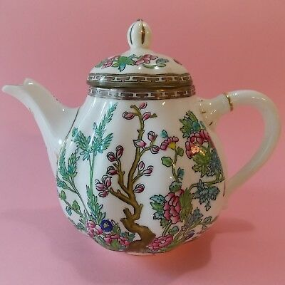 Fine Antique Coalport Indian Tree Teapot With Lid Multi Colors Pink Turquoise