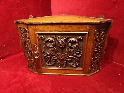 Antique Carved Corner Wall Hanging Cabinet