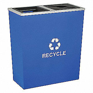 TOUGH GUY Steel, Plastic Recycling Container,Blue,36 gal., 5UJE8, Blue