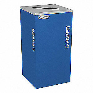 TOUGH GUY Steel, Plastic Recycling Container,Blue,24 gal., 5UJD0, Blue