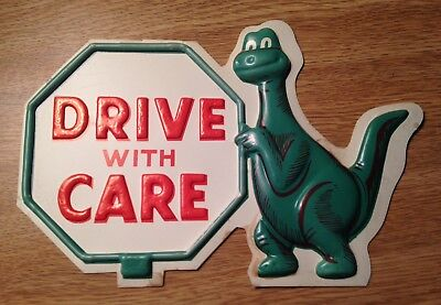 Vintage sinclair dino gas drive with care 3d vacuum plastic sign Sinclair Oil
