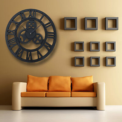 Large Big Round Outdoor Garden Skeleton Wall Clock Roman Numerals Metal 40Cm Diy