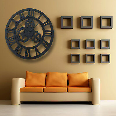 Roman Wall Clock Traditional Vintage Metal Numeral Skeleton Home Decor 40CM UK