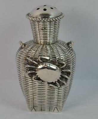 Antique Chinese Silver Crab on Basket Snuff Bottle - Signed to Base