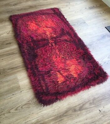 ABSTRACT MIDCENTURY DANISH RYA WOOL RUG 60s 70s SCANDI VINTAGE RETRO MODERNIST