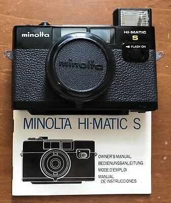 Black Minolta HiMatic S Rangefinder With 38mm f2.7 Instrux, Case