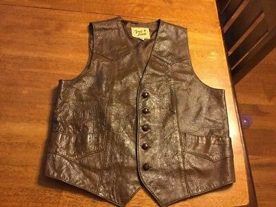 Vintage Men's Tony Lama Brown Leather Vest Size 44 (M)?  5 Button Front