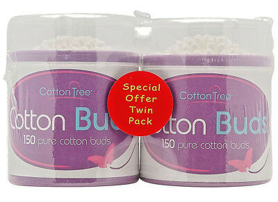 COTTONTREE 150 Pure Cotton Buds x 2 Twin Pack, 1st Class Same Day Dispatch