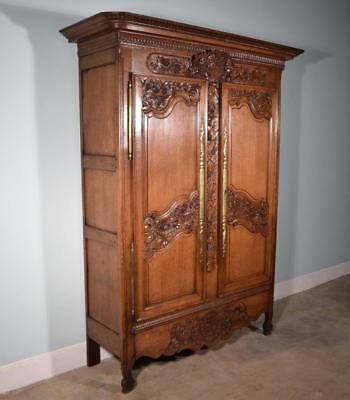 *Early 1800's French Antique Normandy Wedding Armoire/Wardrobe in Solid Oak