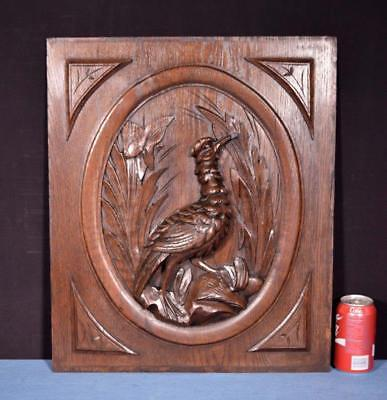 *Antique French Hunting Style Carved Panel in Solid Oak Wood w/Bird Salvage 1