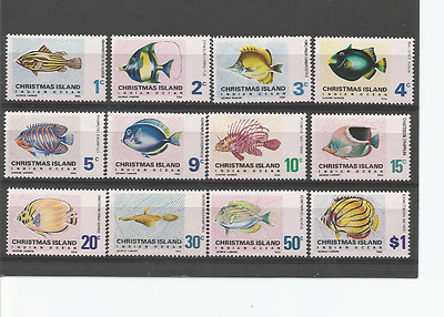 Mint 1968 Christmas Island Xmas Island Fish Complete Set Of 12 Muh Cv $70