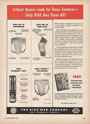 Vintage 1948 BIKE JOCK STRAPS, ATHLETIC SUPPORTERS Print Ad