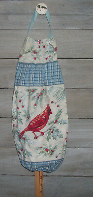 Red Cardinal Holly Pine Needles Red Berries Plastic Grocery Bag Rag Sock Holder