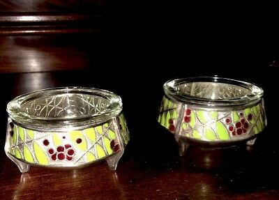 Pair of Antique Russian Silver Cloisonné Salts OMMET Jewelers Green & Red Enamel