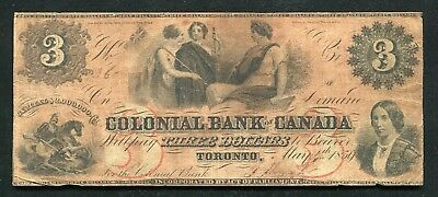 1859 $3 The Colonial Bank Of Canada Toronto Chartered National #130-10-04-06