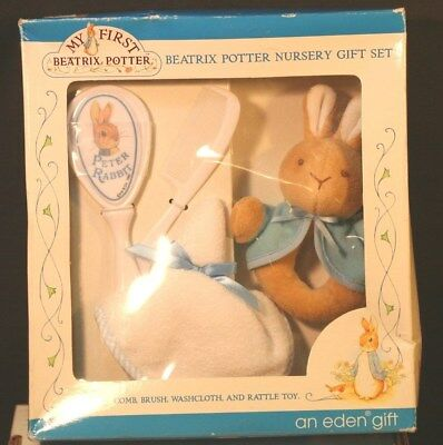 NIB Beatrix Potter Nursery 4 Piece Gift Set Comb Brush Washcloth & Rattle